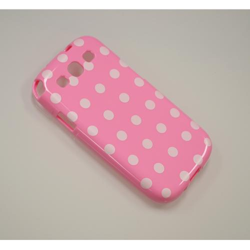 Baby Pink/ White Polka Dots Anti-Slip Dot Jelly Series Crystal Silicone Case for Samsung Galaxy S3