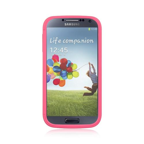 Hot Pink Crystal Silicone Case w/ Clear Flip-Open Screen Protector Cover for Samsung Galaxy S4