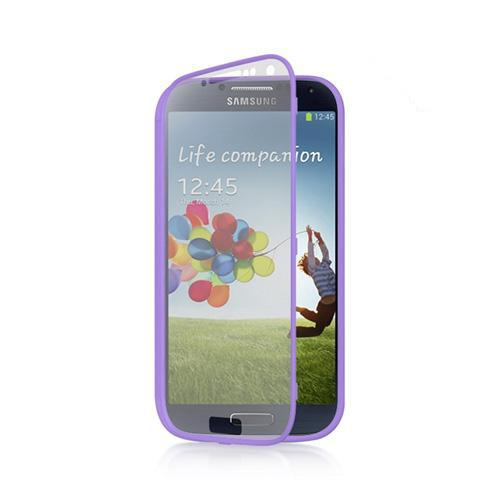 Lavender Crystal Silicone Case w/ Clear Flip-Open Screen Protector Cover for Samsung Galaxy S4