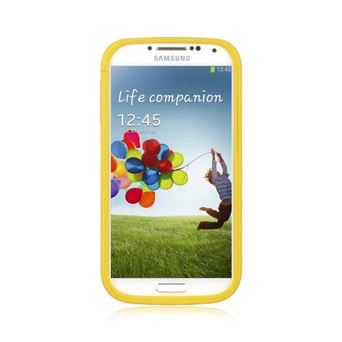 Yellow Crystal Silicone Case w/ Clear Flip-Open Screen Protector Cover for Samsung Galaxy S4