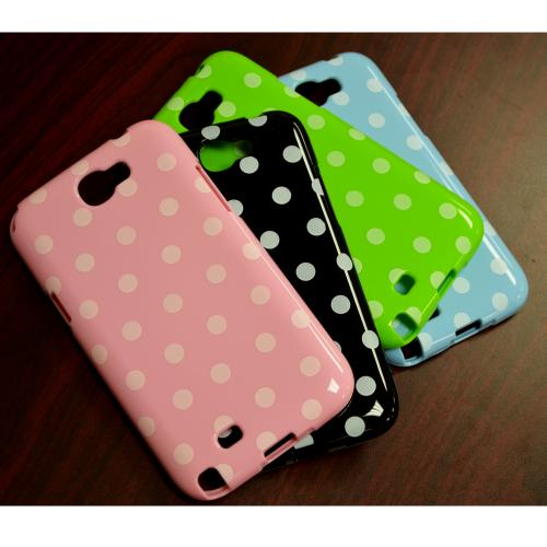 Baby Pink/ White Polka Dots Anti-Slip Dot Jelly Series Crystal Silicone Case for Samsung Galaxy Note 2