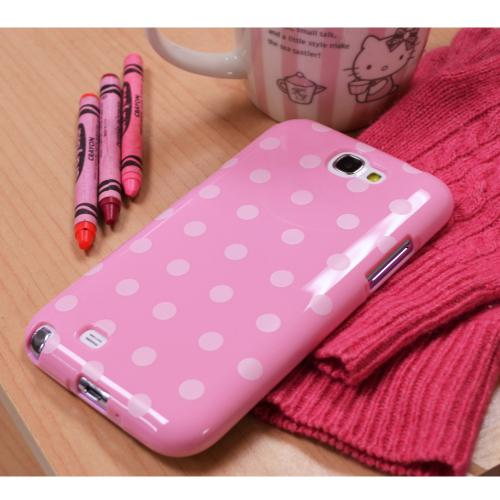 Manufacturers Baby Pink/ White Polka Dots Anti-Slip Dot Jelly Series Crystal Silicone Case for Samsung Galaxy Note 2 Silicone Cases / Skins