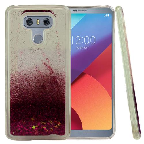 LG G6 Case, Slim & Flexible Anti-shock Hybrid Flexible TPU Case Cover, Liquid W/ Glitter & Stars [Hot Pink]