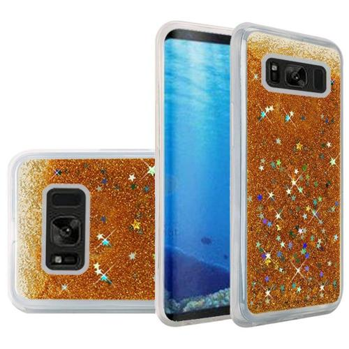 Samsung Galaxy S8 Case, Slim & Flexible Anti-shock Hybrid Flexible TPU Case Cover, Liquid W/ Glitter & Stars [Gold] with Travel Wallet Phone Stand