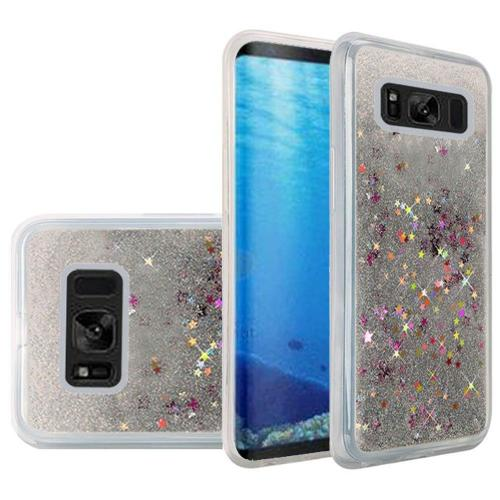 Samsung Galaxy S8 Case, Slim & Flexible Anti-shock Hybrid Flexible TPU Case Cover, Liquid W/ Glitter & Stars [Silver] with Travel Wallet Phone Stand