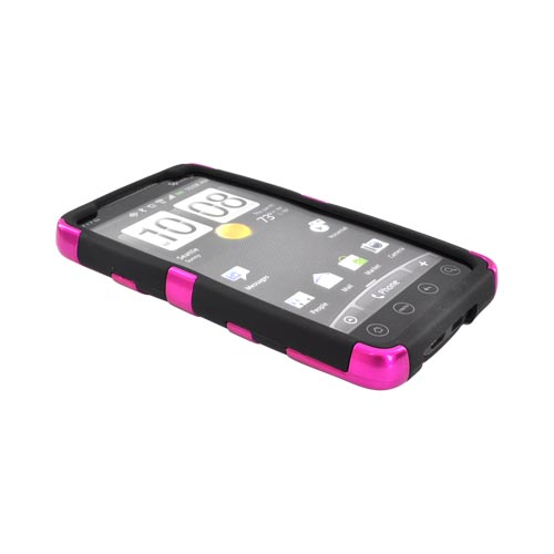 HTC EVO 4G Fish Bone Hard Case over Silicone - Hot Pink on Black