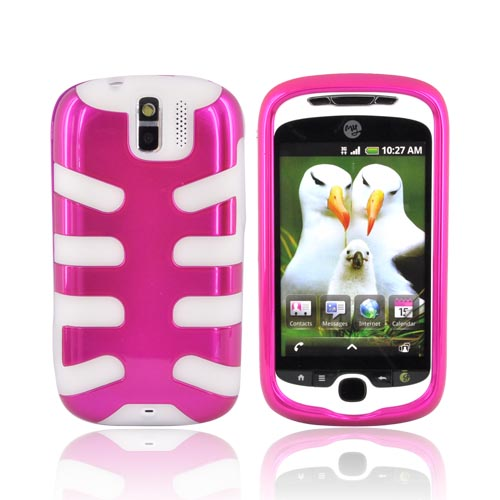 T-Mobile MyTouch 3G SLIDE Hard Case over Silicone - Hot Pink on Frost White