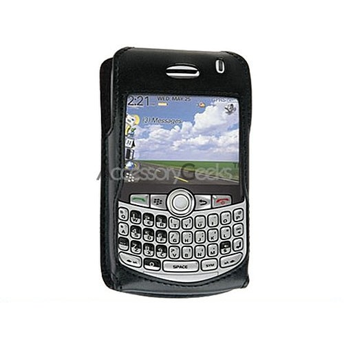 Premium Blackberry Curve 8330, 8320, 8310, 8300 Leather Case w/ Swivel Belt Clip - Black