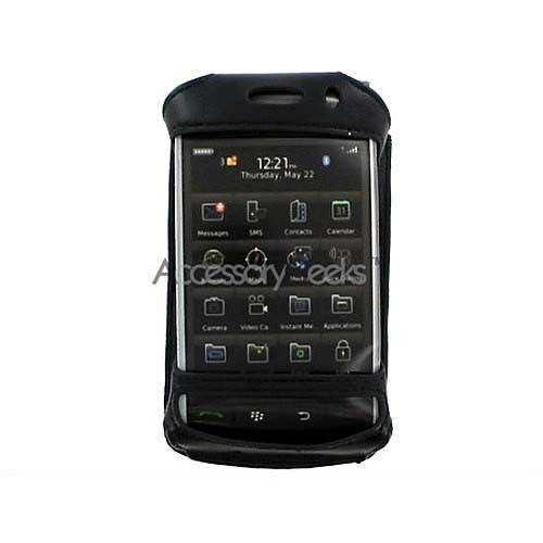 Premium Blackberry Storm Leather Case w/ Swivel Belt Clip - Black