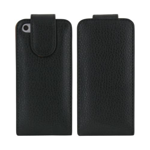 Apple iPhone 5/5S Vertical Flip Open Leather Pouch Case w/ ID Slots - Black