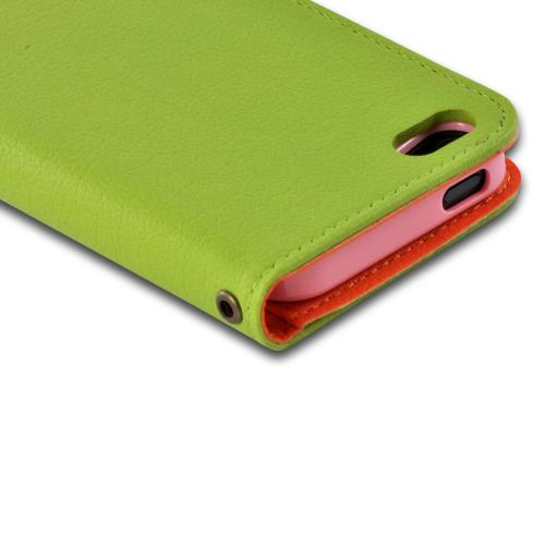 Green/ Orange Hera Slim Leather Diary Flip Case w/ ID Slots for Apple iPhone 5