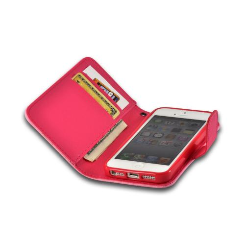 Hot Pink/ Rose Pink Hera Slim Leather Diary Flip Case w/ ID Slots for Apple iPhone 5