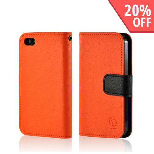 Orange/ Black Hera Slim Leather Diary Flip Case w/ ID Slots for Apple iPhone 5