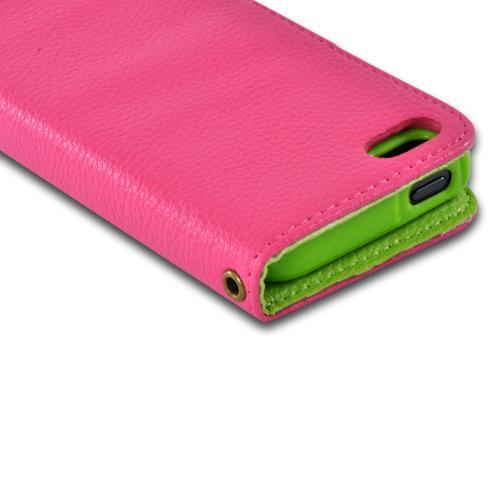 Pink/ Green Hera Slim Leather Diary Flip Case w/ ID Slots for Apple iPhone 5