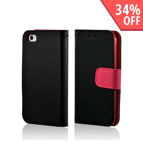 Black/ Pink Leather Diary Premium Crystal Silicone Case w/ ID Slots for Apple iPhone 5/5S