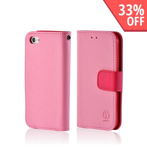 Apple iPhone SE / 5 / 5S  Case,  [Baby Pink/ Pink]  Leather Diary Premium Crystal Silicone Case w/ ID Slots