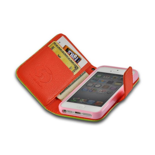 Green/ Orange Leather Diary Premium Crystal Silicone Case w/ ID Slots for Apple iPhone 5/5S