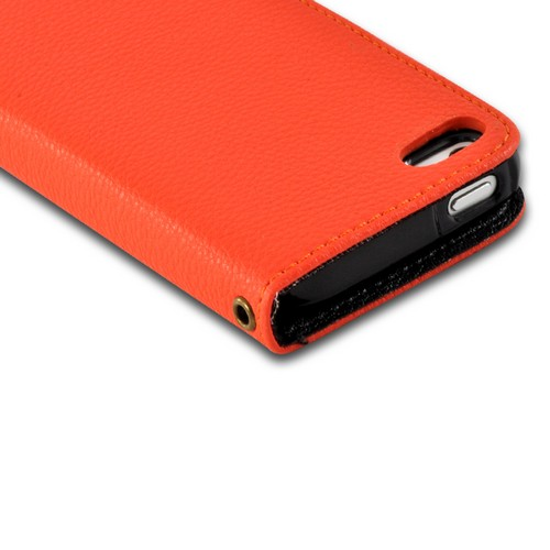 Orange/ Black Leather Diary Premium Crystal Silicone Case w/ 2 ID Slots for Apple iPhone 5/5S