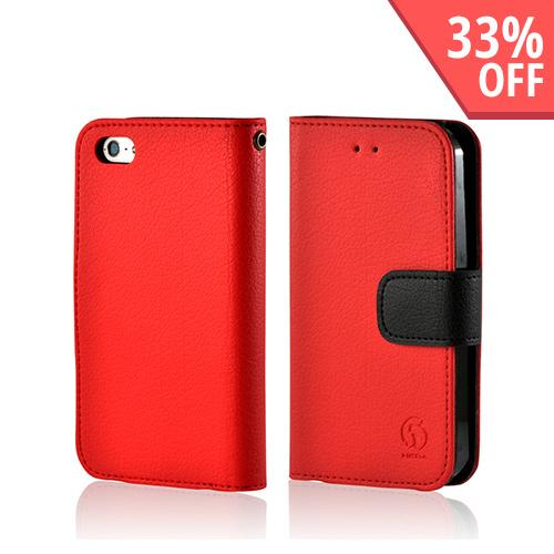Red/ Black Leather Diary Premium Crystal Silicone Case w/ ID Slots for Apple iPhone 5/5S