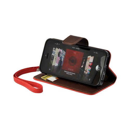 Red/ Brown Mount Leather Diary Flip Case w/ ID Slots, Stand & Wriststrap for Apple iPhone 5