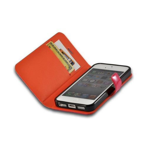 Hot Pink/ Orange/ Black  Leather Stitched Diary Premium Crystal Silicone Case w/ ID Slots for Apple iPhone 5/5S