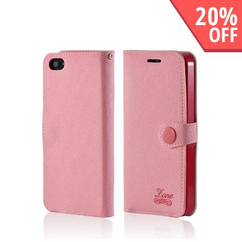 Baby Pink Ultra Slim Smart Zone Faux Leather Diary Flip Case w/ ID Slots for Apple iPhone 5/5S