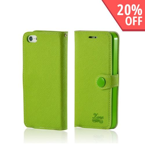 Green Ultra Slim Smart Zone Faux Leather Diary Flip Case w/ ID Slots for Apple iPhone 5/5S