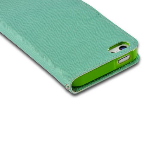 Turquoise Ultra Slim Smart Zone Faux Leather Diary Flip Case w/ ID Slots for Apple iPhone 5/5S