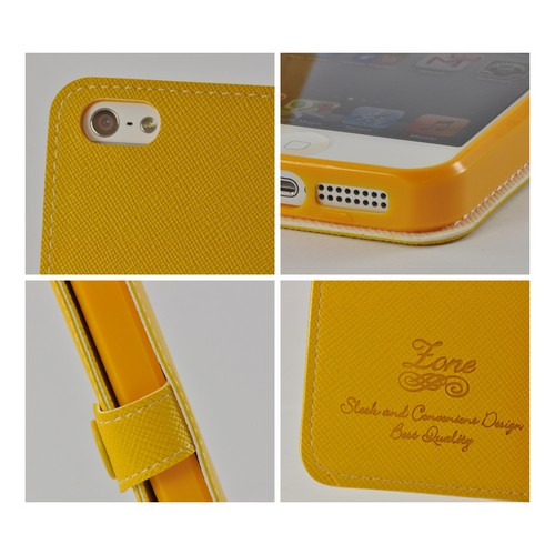 Yellow Ultra Slim Smart Zone Faux Leather Diary Flip Case w/ ID Slots for Apple iPhone 5/5S