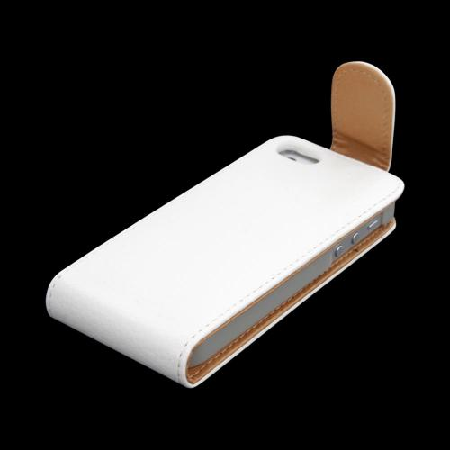 Apple iPhone 5/5S Vertical Flip Open Leather Pouch Case w/ ID Slots - White