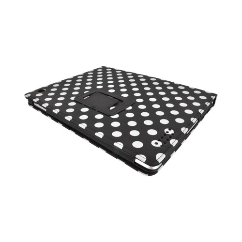 Apple iPad 2/ New iPad Soft Touch Matte Faux Leather Case Stand w/ Suede Interior & Magnetic Closure - White Polka Dots on Black