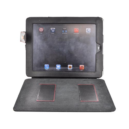 Original Swiss Leatherware Apple iPad Leather Stand Case w/ Snap Closure & Pockets - Black
