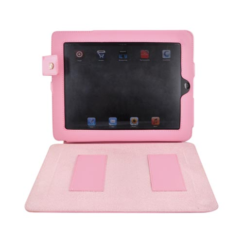 Original Swiss Leatherware Apple iPad Leather Stand Case w/ Snap Closure & Pockets - Baby Pink