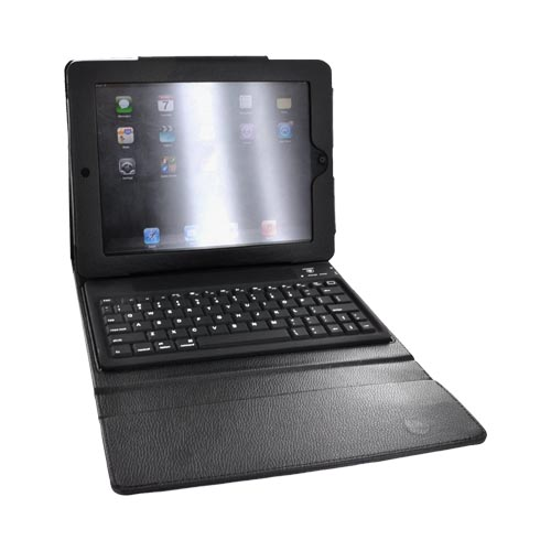 Premium Apple iPad 2nd Gen Leather Case w/ Magnetic Closure and Wireless Bluetooth Keyboard - Black