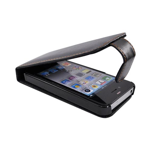 Apple iPhone 4S, AT&T/Verizon iPhone 4 Vertical Flip Open Leather Pouch Case - Black