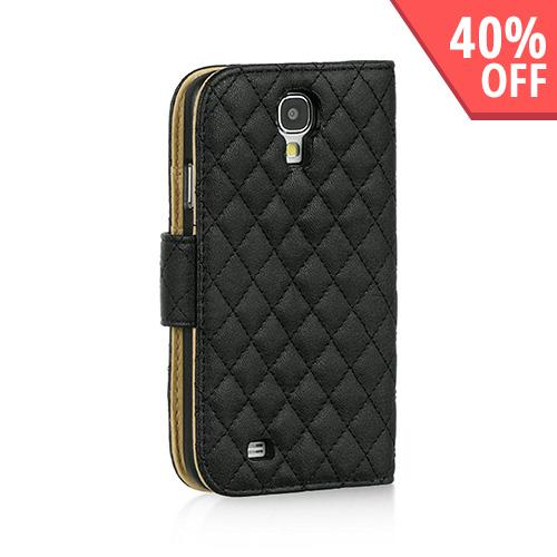 Black Quilted Faux Leather Diary Case w/ ID Slots & Sleeper Function for Samsung Galaxy S4