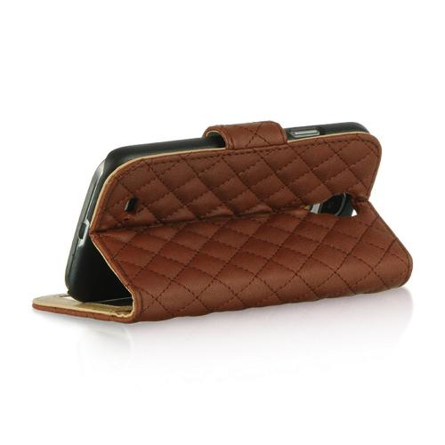 Brown Quilted Faux Leather Diary Case w/ ID Slots & Sleeper Function for Samsung Galaxy S4
