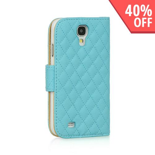 Sky Blue Quilted Faux Leather Diary Case w/ ID Slots & Sleeper Function for Samsung Galaxy S4