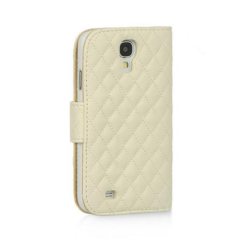 Cream White Quilted Faux Leather Diary Case w/ ID Slots & Sleeper Function for Samsung Galaxy S4