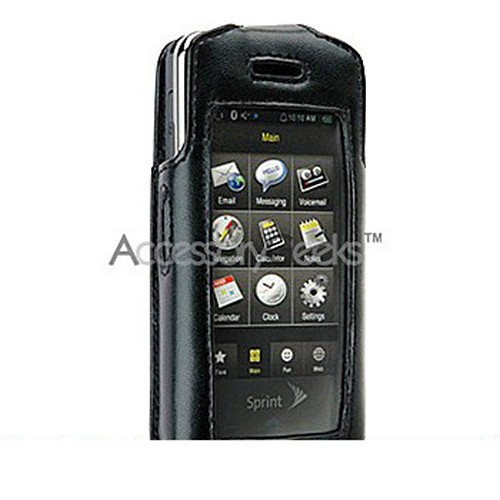 Premium Samsung Instinct Leather Case w/ Swivel Belt Clip - Black