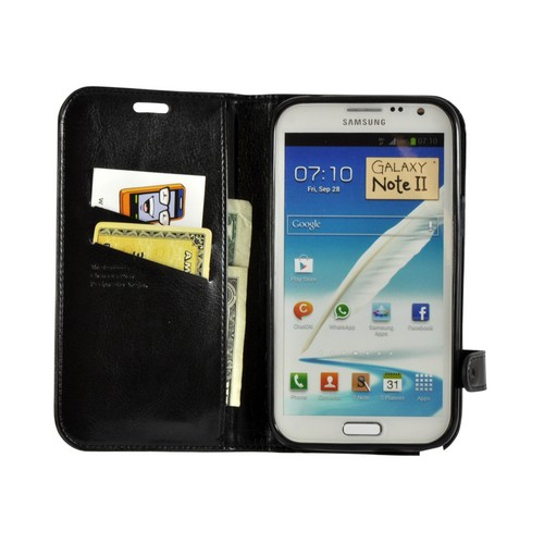 Black Cat's Eye Leather Diary Premium Crystal Silicone Case w/ ID Slots for Samsung Galaxy Note 2