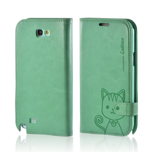 Green Cat's Eye Leather Diary Premium Crystal Silicone Case w/ ID Slots for Samsung Galaxy Note 2