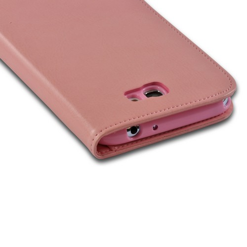 Peach/ Pink Cat's Eye Leather Diary Premium Crystal Silicone Case w/ ID Slots for Samsung Galaxy Note 2