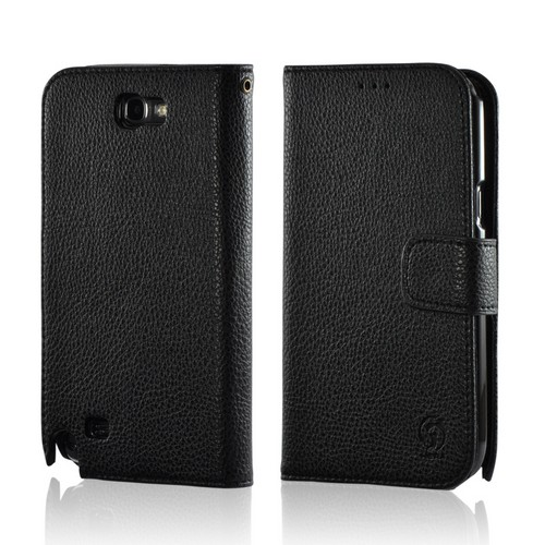 Black Leather Diary Premium Crystal Silicone Case w/ ID Slots for Samsung Galaxy Note 2