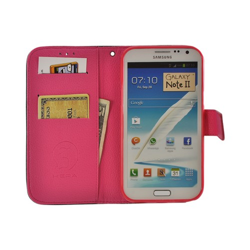 Black/ Pink Leather Diary Premium Crystal Silicone Case w/ ID Slots for Samsung Galaxy Note 2