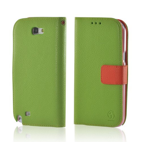 Green/ Orange Leather Diary Premium Crystal Silicone Case w/ ID Slots for Samsung Galaxy Note 2