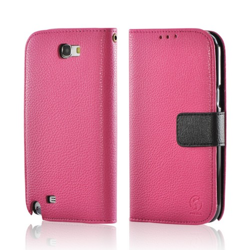 Pink/ Black Leather Diary Premium Crystal Silicone Case w/ ID Slots for Samsung Galaxy Note 2