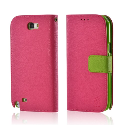 Pink/ Neon Green Leather Diary Premium Crystal Silicone Case w/ ID Slots for Samsung Galaxy Note 2