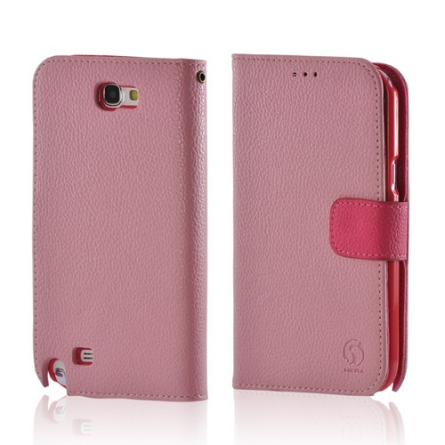 Baby Pink/ Pink Leather Diary Premium Crystal Silicone Case w/ ID Slots for Samsung Galaxy Note 2