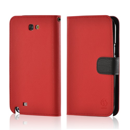 Red/ Black Leather Diary Premium Crystal Silicone Case w/ ID Slots for Samsung Galaxy Note 2